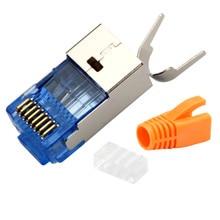 5set Stecker Rj45 Cat7 Qualität Kristall Kopf Lan Kabel Adapter10Gb Ethernet Netzwerk Kabel 8p8c Metall Abschirmung Modulare Stecker