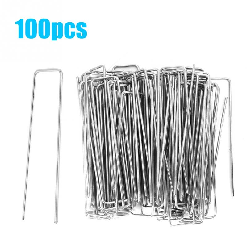 100Pcs Stainless Steel Garden Staple Pins Weed Barrier Fabric Stake Fixed Accessories Garden Tools