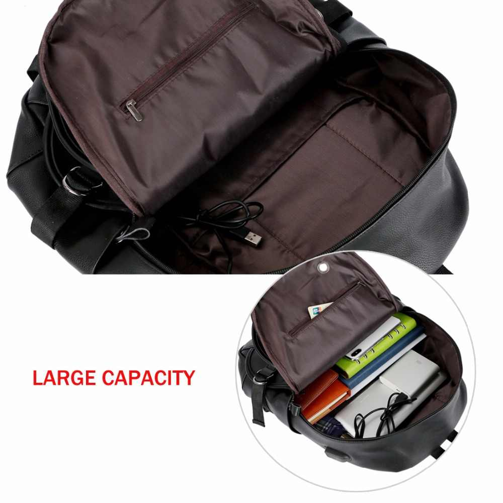 c71d5a0c5de8 ... VICUNA POLO Man Leather Casual Brand USB Interface Backpack Bag With  Headphone Hole Mens School Travel