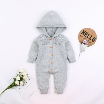 Knitted Infant Long Sleeve Hooded Knitted Jumpsuits