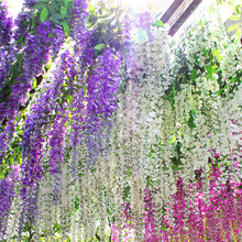 Artificial Fake Flower Wisteria Hanging Plant Rattan Wedding Party Home Garden Decoration Decoration Hanging Flower(China)