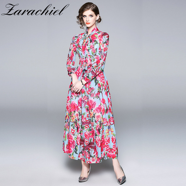1b4c37d184e1 Runway Dress 2019 Autumn Boho Maxi Dress Women Long Sleeve Floral Print  Ribbon Bow Tie Collar Chiffon Dress Vestidos Robe Femme