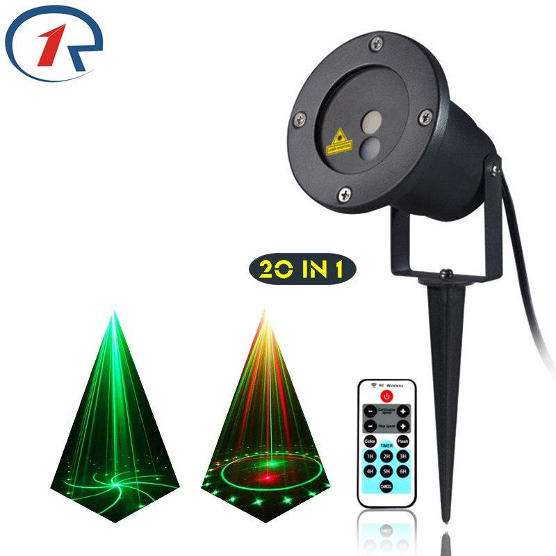 ZjRight IR Remote 20 mønster Rødgrønn laserlys vanntett utendørs projeksjon laser scenelys bar dj light KTV disco light