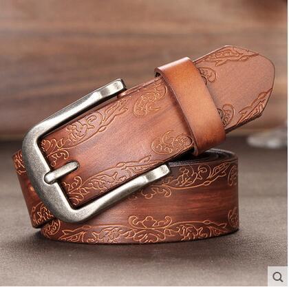 Mulheres belts2016 marca 100% de couro genuíno de alta qualidade da moda grande marrom cinta calça jeans cinto cintos de designer flor impressão buraco