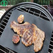 WHISM 33x40cm Black Teflon BBQ Mat Waterproof Reusable Non-stick Grill Mat Heat Resistant Cake Baking Mats Barbacoa Accessories