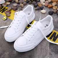 {D&Henlu}White Causal Shoes For Woman Leather White Sneakers Woman Canvas Shoes For Women Sneakers Vulcanize Shoes Flats Sneaker