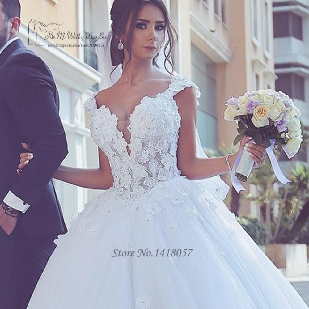 2e66ff48cd Vestido de Noiva Plus rozmiar arabski młodej suknie 2017 koronkowe suknie  ślubne zroszony zamek luksusowa suknia ślubna turcji Robe de Mariee