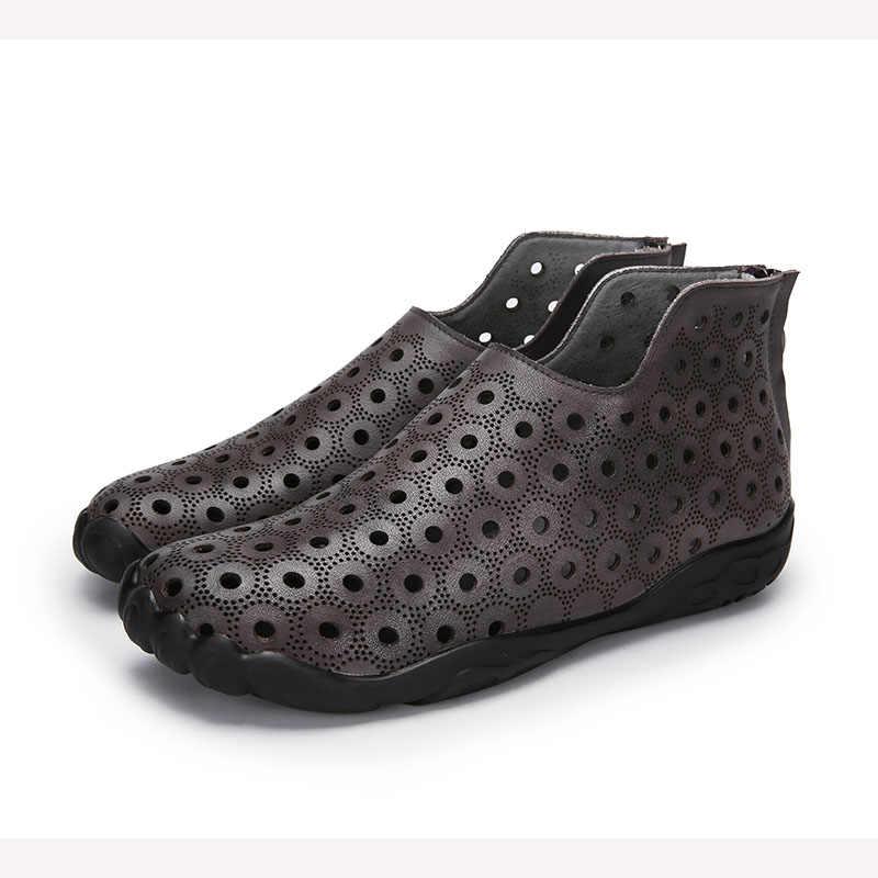 VALLU 2018 Yaz Kadın Ayakkabı Daireler Boots Cut Out Hakiki Deri Geri Zip Özel Tasarım Kadın yarım çizmeler Artı Boyutu