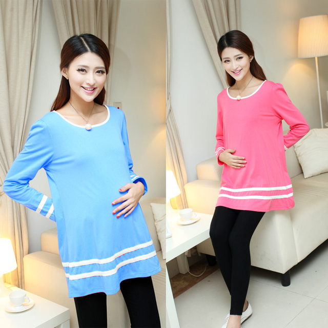 2017 100% cotton maternity clothes spring and autumn  maternity T-shirt fashion long-sleeve top 2 colors available BMB020