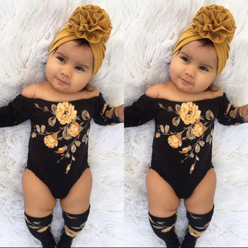 2PCS Newborn Baby Girl Off Shoulder Flower Romper Leg Warmers Outfits Clothes