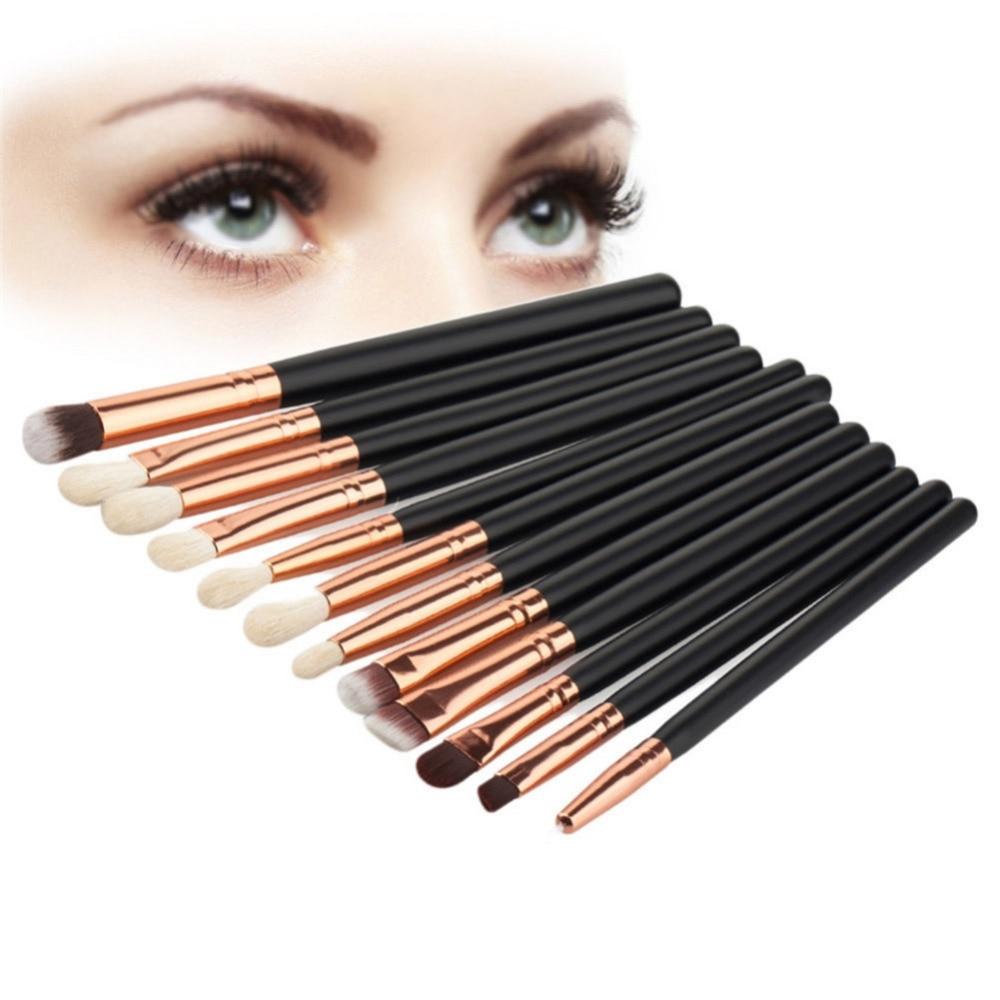 12Pcs Professional Eyes Makeup Brushes Set Wood Handle Eyeshadow Eyebrow Blending Powder Smudge Brush