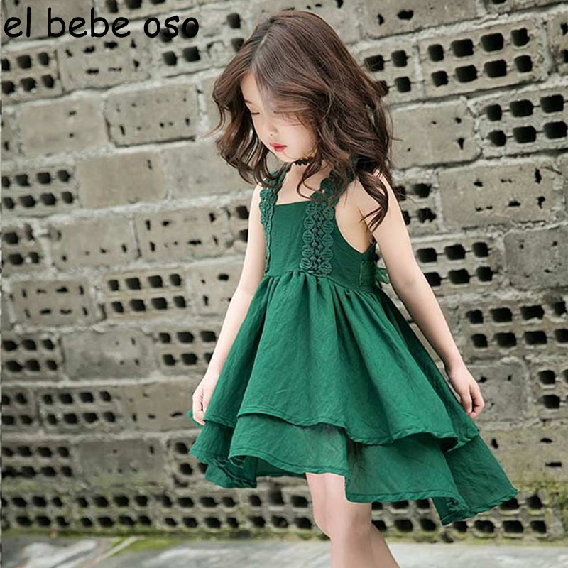 Girls Dresses 2018 New Summer Children Dresses Spaghetti Strap Bow Asymmetrical Princess Dress Party Dresses Kids Clothes XL289