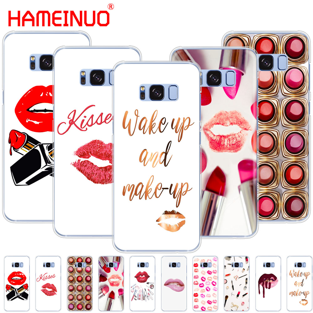 HAMEINUO <font><b>Sexy</b></font> Lips Makeup Cosmetics Lipstick Powder cell phone <font><b>case</b></font> cover for Samsung Galaxy S9 S7 edge PLUS <font><b>S8</b></font> S6 S5 S4 S3 MINI image