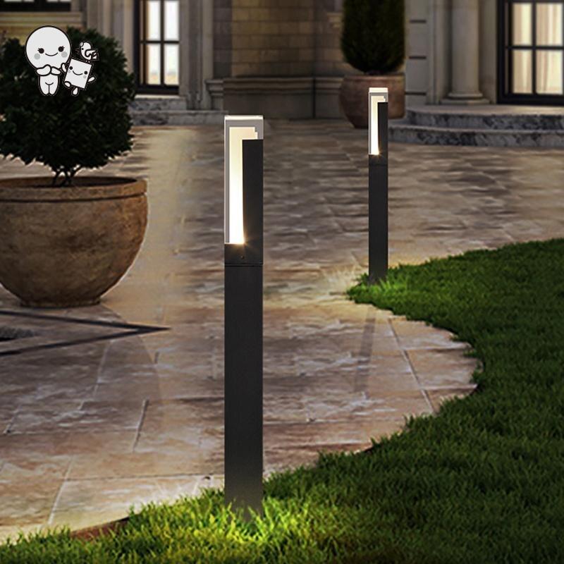 Extérieur noir gris carré LED pelouse lampe luminaire étanche moderne Vintage grand sol debout lumière pour jardin arrière-cour voie