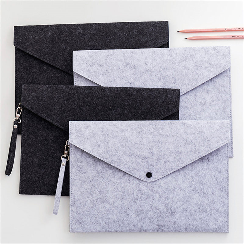 Coloffice Wool Felt Floder A4 File Bag Business Office Bag Briefcase Storage Bag Portfolio Ipad Bag Office School Supplies 1PC