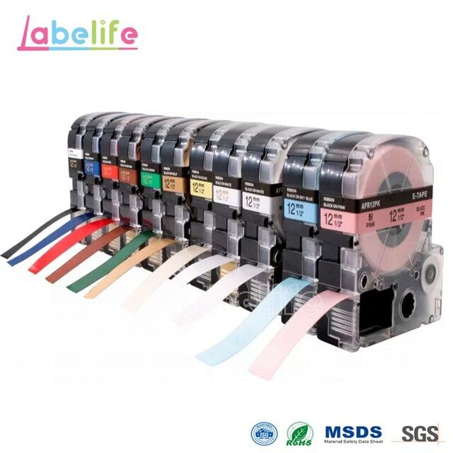 LLabelife 1 Pcs 12mm KingJim LA-4LBK תואם SFR12PK SFR12ZK עבור Epson/Kingjim תווית מדפסת עבור זר, מתנה, חתונה