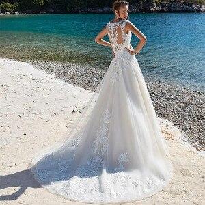 Image 2 - SoDigne 레이스 웨딩 드레스 아플리케 민소매 환상 비치 웨딩 드레스 빈티지 브라 가운 vestidos de novia Pluse size