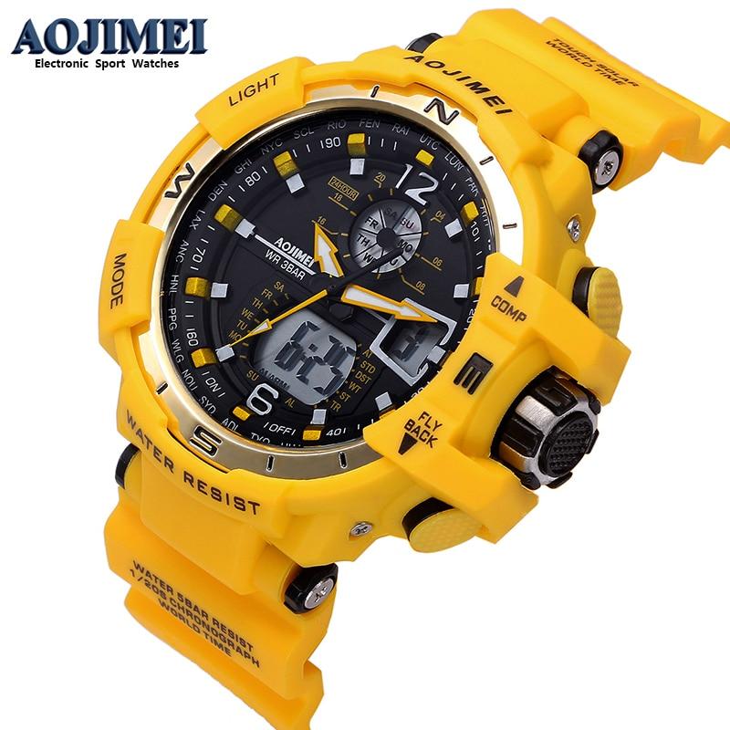 Yellow Men's Wrist Watch Digital Watch Man Waterproof LED Clock Man Electronic Watch Man Kids Sport Shock Watch