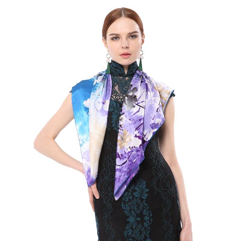 Spring Fashion 100% Silk Large Size Women Scarves 86*86cm Square Original Design Digital Print Satin Luxury Brand Scarf Hijab