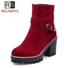 RizaBina 4 цвета Размеры 33-43 женские ботинки на высоком каблуке круглый носок стринги ботильоны с пряжкой На зимнем меху теплая обувь женская обувь