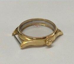 Szafirowe 44mm wysokiej jakości pokryte warstwą stali nierdzewnej 316L 18K złoty zegarek przypadki fit ETA 6497/6498 ręcznie nakręcany ruch 016A