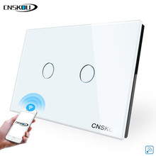 Cnskou Manufacturer Wifi Touch Switch, LED Light Wall Smart Home Remote Control US Switch,2 Gang 1 Way Luxury Glass Panel