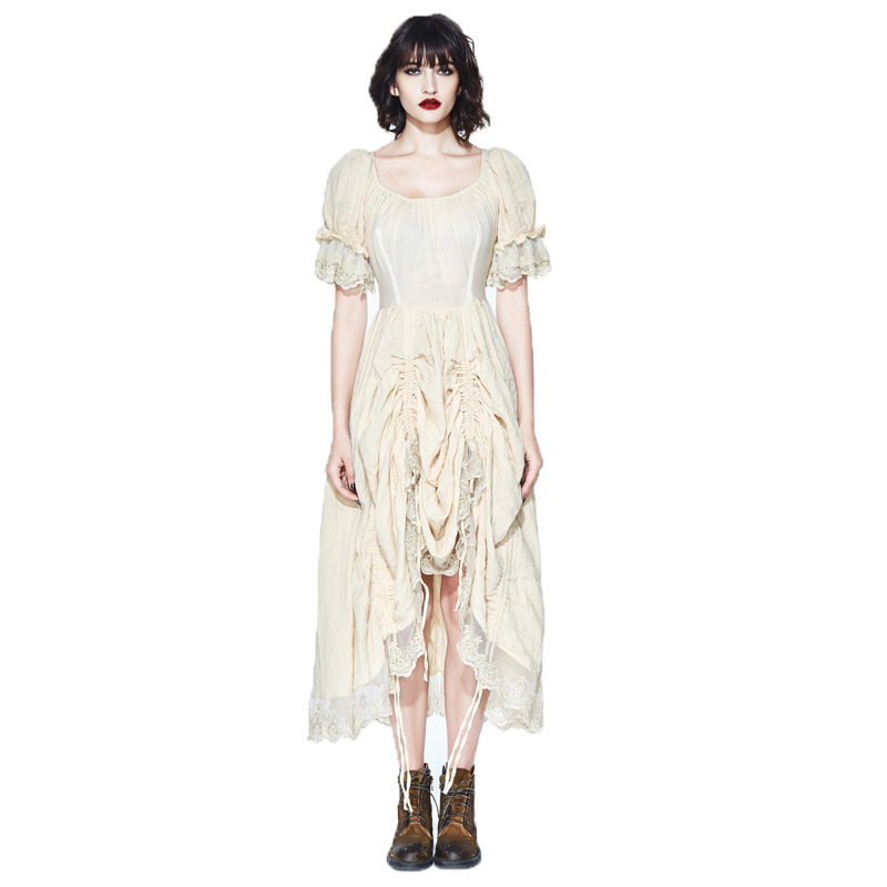 Fashion Gothic Dress Women's Dress Prairie Chic Cotton Long Dresses Short Puff Sleeve Romatic Dress Lace Cream Dress New