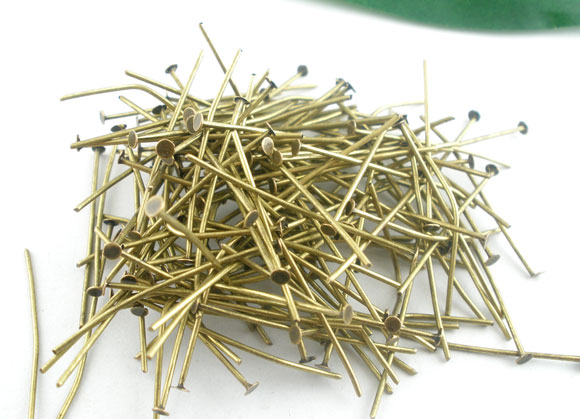 90 PCs Bronze Color Head Pins Findings 50x0.7mm(21 Gauge) New