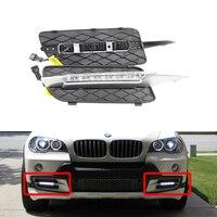 Комплект DRL для BMW X5 E70 2007 2008 2009 2010 Led Габаритные огни Daylights переднего бампера вождения противотуманные Led лампы