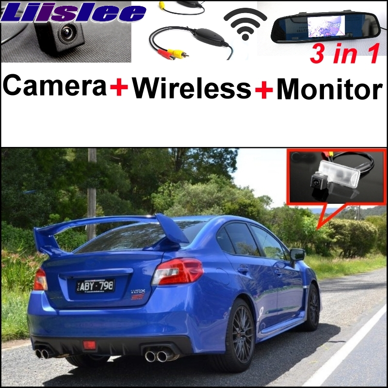 Liislee 3 in1 Special Camera + Wireless Receiver + Mirror Monitor Easy DIY Back Up Parking System For Subaru WRX STi (Wagon) 3 in1 special rear view camera wireless receiver mirror monitor back up parking system for citroen ds3 ds 3 2009 2015