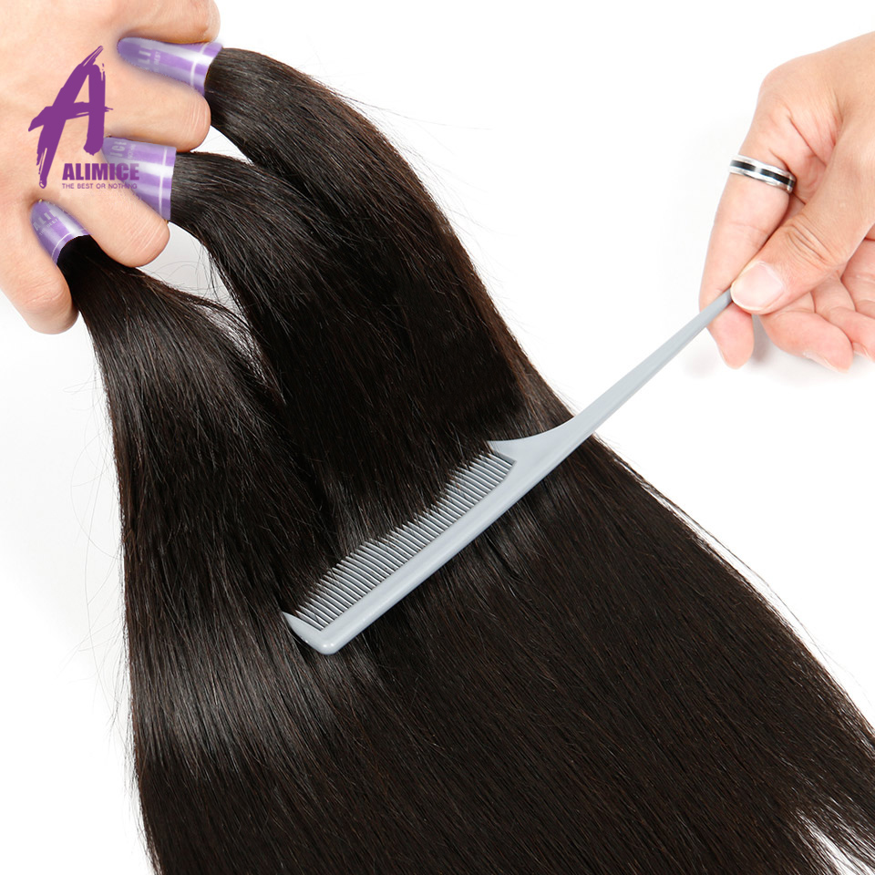 Alimice Hair Indian Straight Hair 8-26 inch Non-Remy Hair Extensions - Menneskehår (sort) - Foto 4