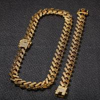 Men's 15mm Strip Cuban Chain Necklace Iced outColor Zircon Glamour Hip Hop Necklace