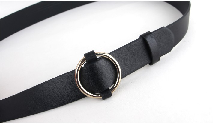 Newest Gold Round buckle belts female HOT leisure jeans wild belt without pin metal buckle brown leather black strap belt women 10