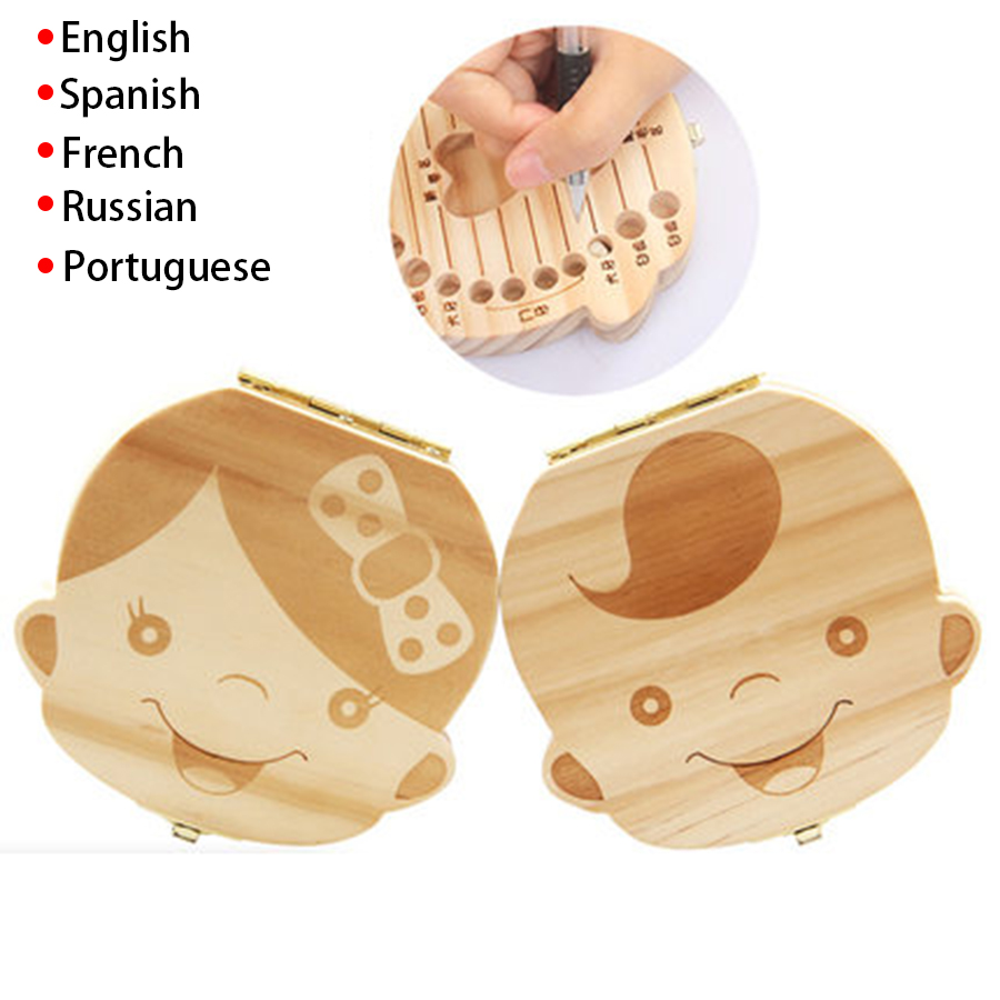 Spanish/English/Portugal/French/Russia Baby Wood Tooth Box Organizer Milk Teeth Storage Collect Teeth Umbilica Lanugo Save Gifts