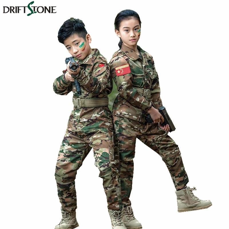 Kids Boys Girls Tactical Combat Uniform Sets Shirt Pants Military BDU Camouflage