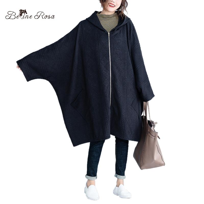 BelineRosa 5XL 6XL 7XL Oversized Women Coats Batwing Design Large Size Black Color Autumn Winter Cotton   Trench   Female HS000610