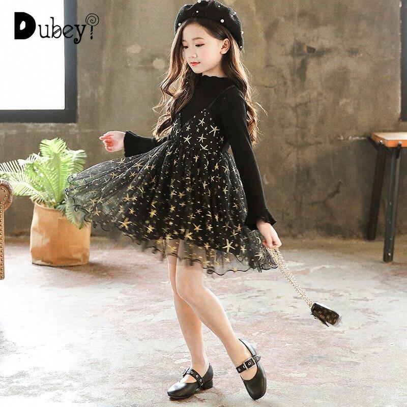 Automne nouvelle mode adolescente filles à tricoter Tulle Patchwork robe de princesse automne coton à manches longues vêtements pour les filles de l'école