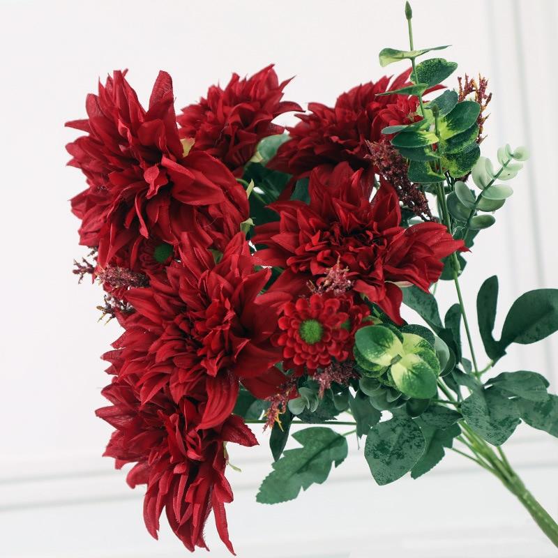 1pcs 12 Heads Artificial Dahlia Bouquet Plants Beautiful Home