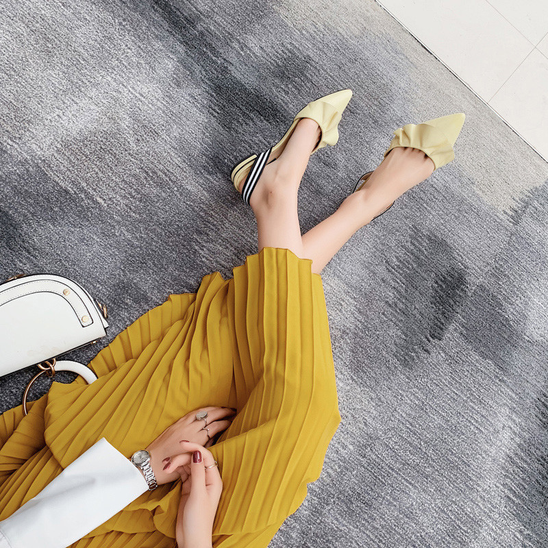 Fascia 2019 Mujer Femme Quadrato Di colore Msstor Elastica Il Nero Scarpe Tacco Sandali Modo Delle Giallo Sandales Sandalias Increspature Sandalo bianco Donne Basso Nouveau fadPaTx