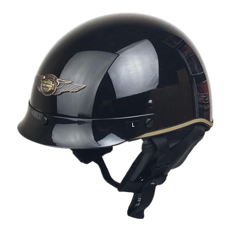 Vcoros стекла волокна Стиль мотоцикл Harley шлем половина шлем Ретро Скутер мотоцикл шлем DOT утвержден веспа мото шлемы