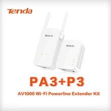 Tenda PA3 1000 Мбит/с PLC wifi Powerline беспроводной сетевой адаптер Комплект гигабитный Powerline адаптер с 1000 Мбит/с P3 Plc Адаптер Комплект