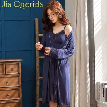 J&Q Female Robes 2019 New Modal Robe & Gown Sets Women Classy Home Clothing Chic Lace Trim Spaghetti Strap Cami Dress Bathrobe