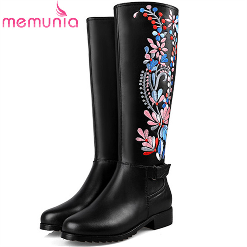 MEMUNIA Top quality mid calf boots genuine leather boots in spring autumn embroidery half boots female big size 34-43 memunia 2018 half boots for women spring autumn mid calf boots fashion elegant pu nubuck leather shoes woman party flock