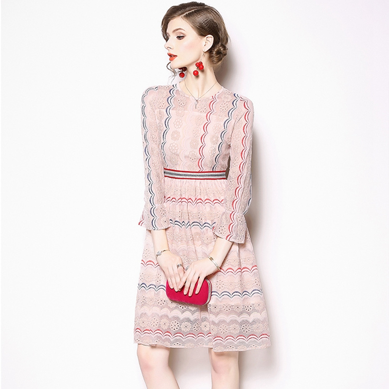 951580992c Pink Hollow Out Embroidery Lace Dress Women Casual Striped Flare Sleeve  Summer Beach Elegant Short Dress