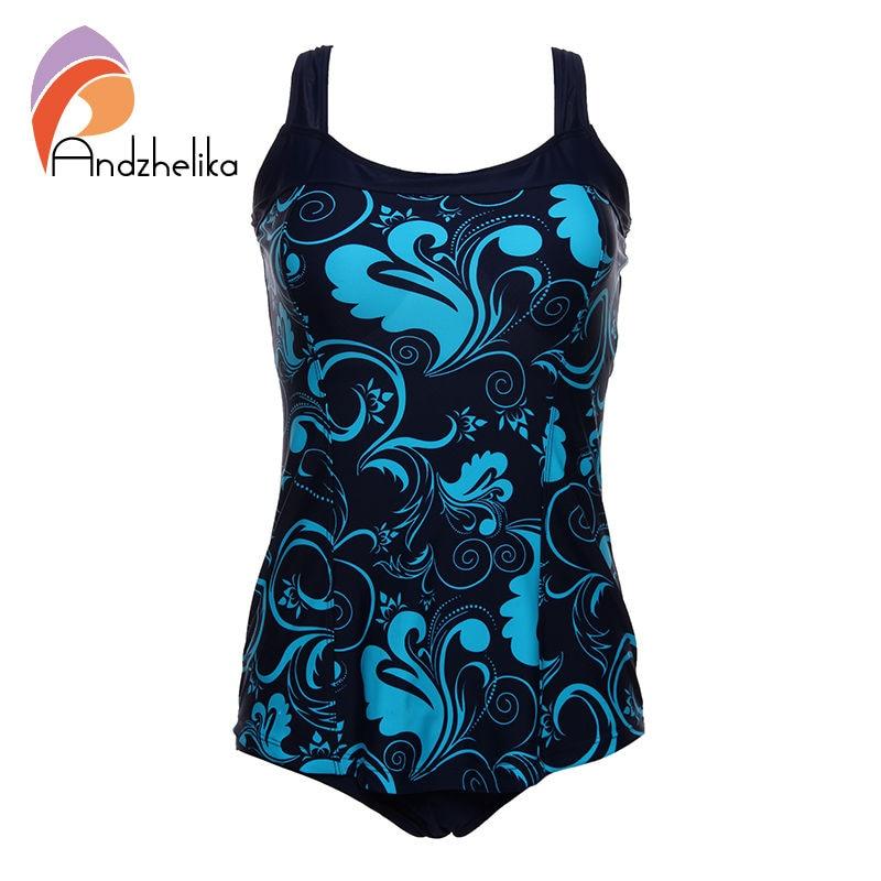 Andzhelika One Pieces Swimsuit 2018 New Plus Size Swimwear Print Bodysuit Vintage Retro Bathing Suits Swimming Suit DY7889 plus size velvet cami bodysuit