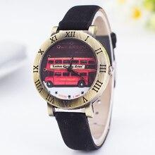 2016 Hot Sale Fashion Women Watch Ladies Leather Quartz Watches Mens London Double Decker Bus Rome Style Wristwatch Star Relojes