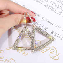 2019 Exaggerated Crystal Earrings Personality Geometric Triangle Earrings Fashion Pendant Earrings Bridal Jewelry personality exaggerated fashionable with diamond crystal earrings