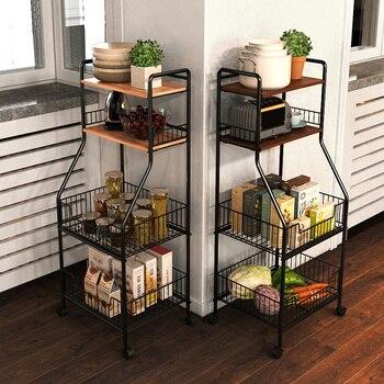 Carretilla de cocina de Louis Fashion, suministros de suelo, almacenamiento de varios pisos, rodillo de cinturón cómodo moderno Simple