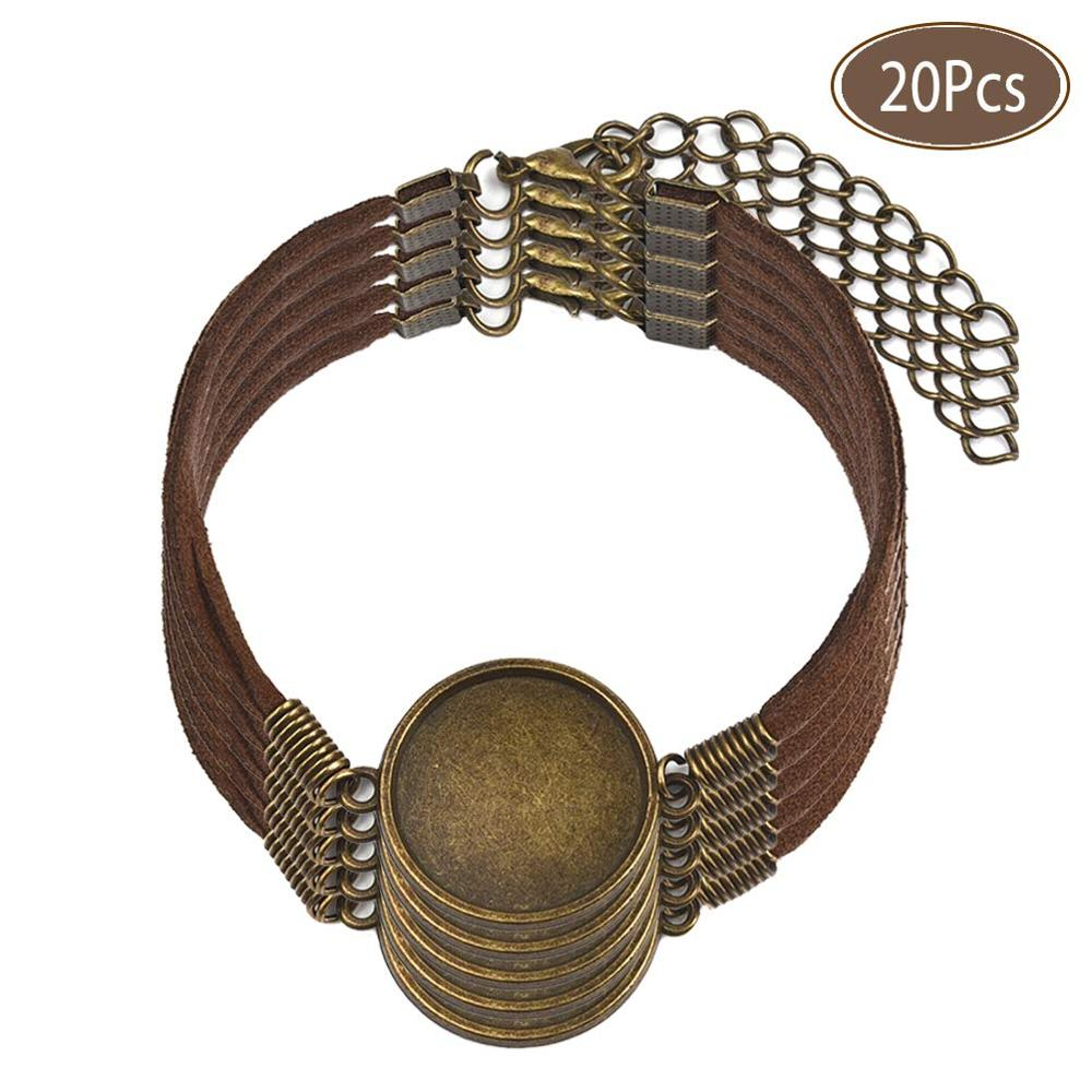 20Pcs/Lot Semi Finished Leather Bracelet With Blank Connector Setting 20mm Flat Round Cabochon Base Jewelry Making DIY Component