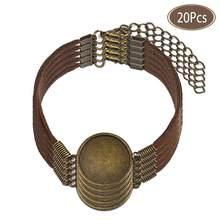 Pulsera de cuero semiacabado con conector en blanco, 20 unidades por lote, Base de cabujón redondo plano de 20mm, componente para fabricación de joyas DIY